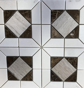 "12"" Thassos Mosaic Polished THE 1 088 1/5""x 2 7/8"" Marble Tile"