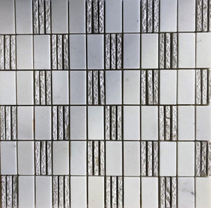 "12"" Thassos Mosaic Polished TH091 1"" x 2"" Marble Tile"