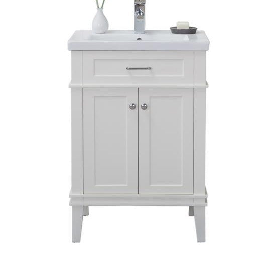 Seattle 24 in. W x 18.25 in. D x 34.75 in. H Vanity in White with Porcelain Vanity Top in White with White Basin