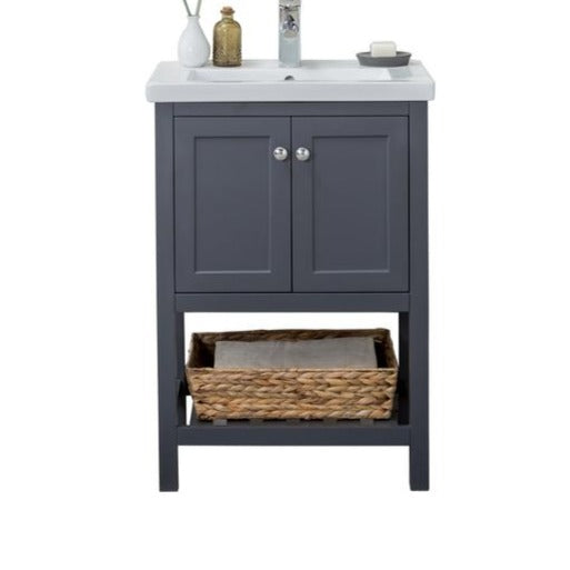 Richland 24 in. W x 18.25 in. D x 34.75 in. H Vanity in Gray with Porcelain Vanity Top in White with White Basin
