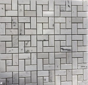 "12"" Bianco Mosaic Polished BN071 5/8"" x 1 1/4"" Marble Tile"
