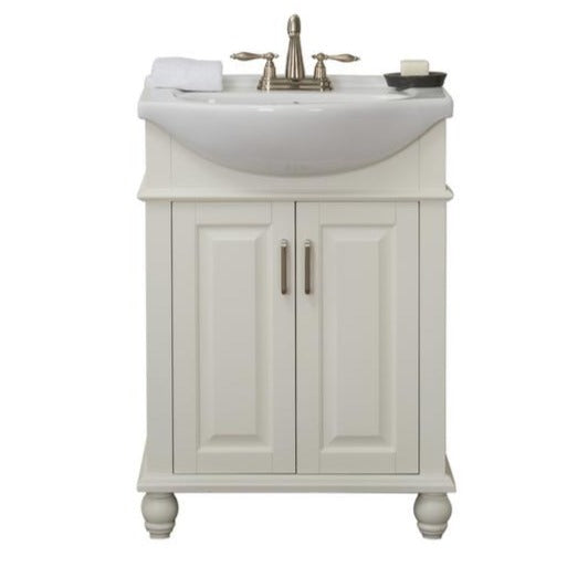 Hover 24 in. W x 17.5 in. D x 34.75 in. H Vanity in White with Porcelain Vanity Top in White with White Basin