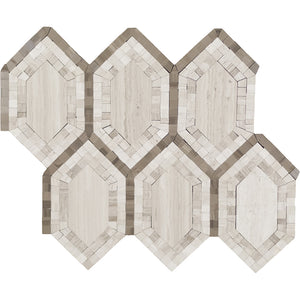 HEX FASHION WOODEN WITH ATHENS GREY MOSAIC, POLISHED