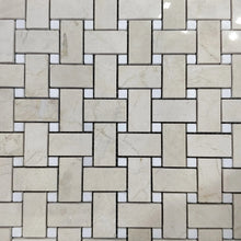 Load image into Gallery viewer, 12 x 12 Basket Weave Polished or High Gloss Beige White Marble - Tile Stone Depot