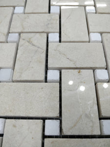12 x 12 Basket Weave Polished or High Gloss Beige White Marble - Tile Stone Depot
