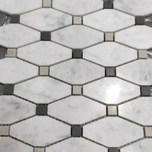 Load image into Gallery viewer, 12 x 12 Square Matte White Hexogan Marble - Tile Stone Depot