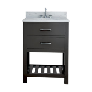TAB Elmira Vanities 25 in. Bathroom Vanity in Espresso with Marble Vanity Top in White