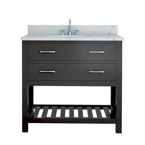 TAB Elmira Vanities 37 in. Bathroom Vanity in Espresso with Marble Vanity Top in White