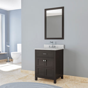 TAB Cortland Vanities 25 in. Bathroom Vanity in Espresso with Marble Vanity Top in White
