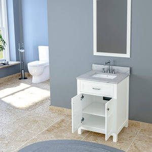 TAB Cortland Vanities 25 in. Bathroom Vanity in White with Marble Vanity Top in White