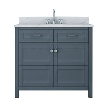 Load image into Gallery viewer, TAB Cortland Vanities 37 in. Bathroom Vanity in Gray with Marble Vanity Top in White