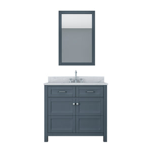 TAB Cortland Vanities 37 in. Bathroom Vanity in Gray with Marble Vanity Top in White