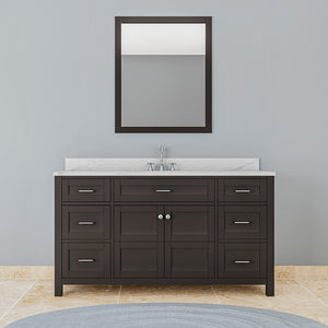 TAB Cortland Vanities 61 in. Single Bathroom Vanity in Espresso with Marble Vanity Top in White