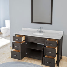 Load image into Gallery viewer, TAB Cortland Vanities 61 in. Single Bathroom Vanity in Espresso with Marble Vanity Top in White