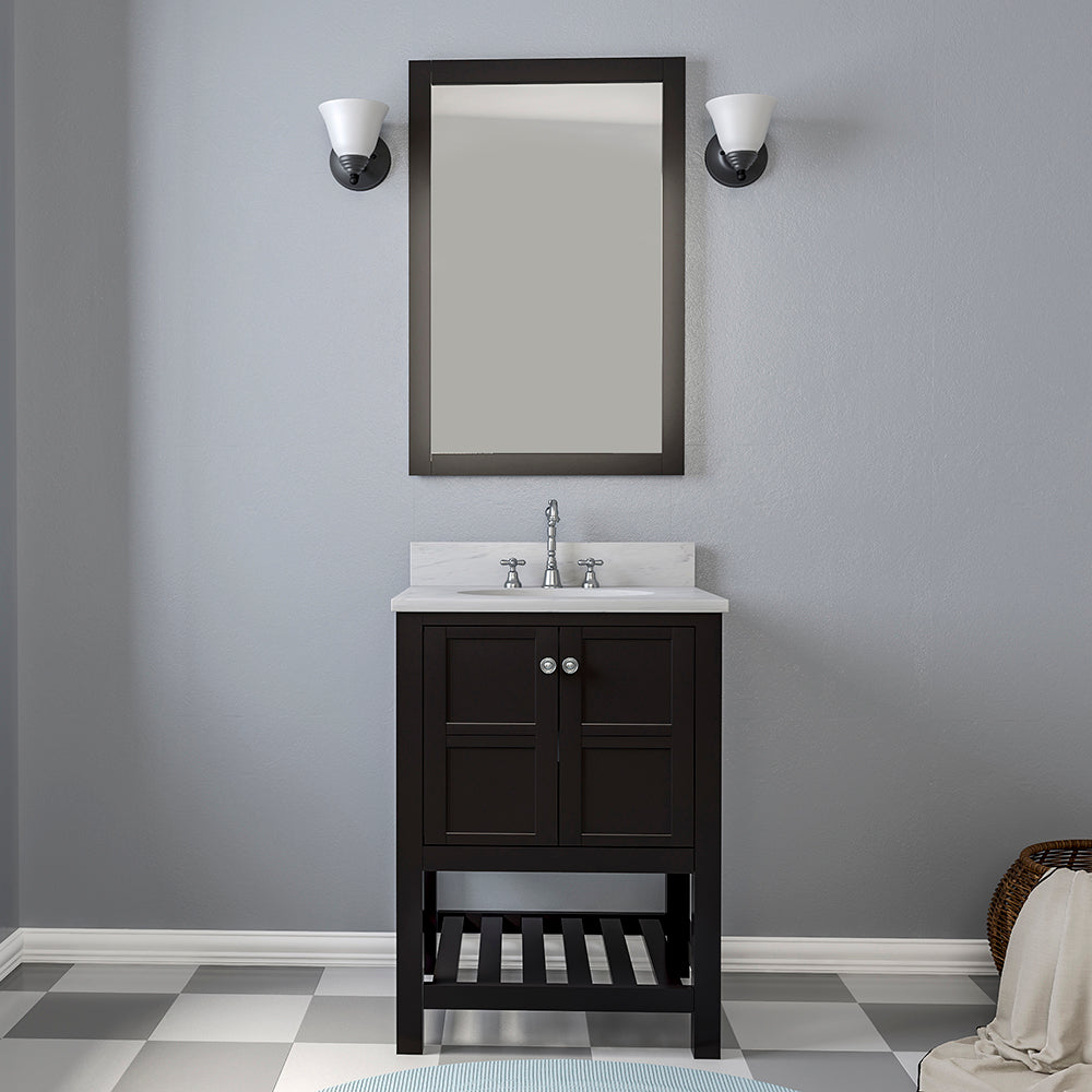 TAB Austin Vanities 25 in. Bathroom Vanity in Espresso with Marble Vanity Top in White