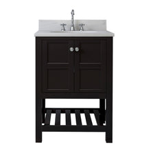 Load image into Gallery viewer, TAB Austin Vanities 25 in. Bathroom Vanity in Espresso with Marble Vanity Top in White