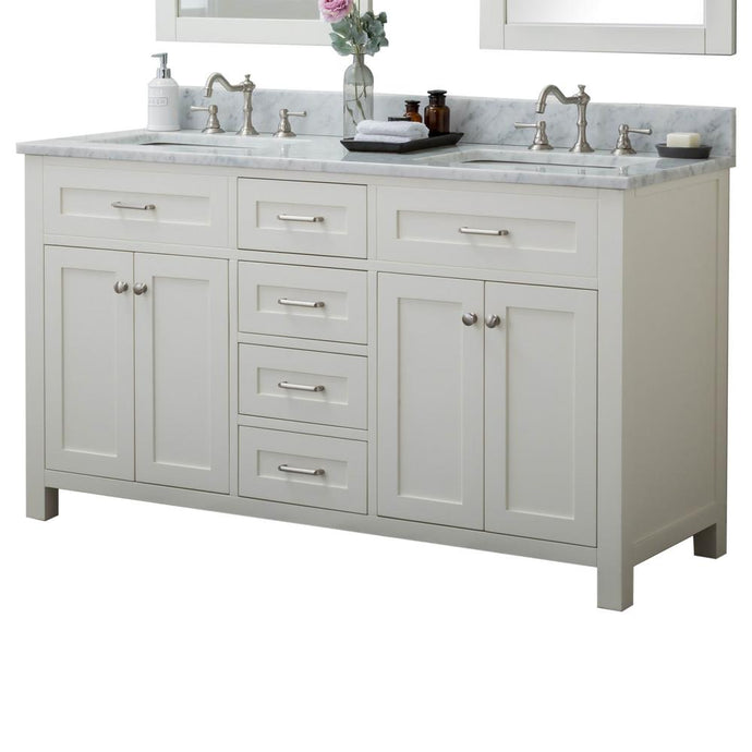 Redmond 60 in. W x 34.2 in. H Bath Vanity in Linen White with Marble Vanity Top in White with White Basin