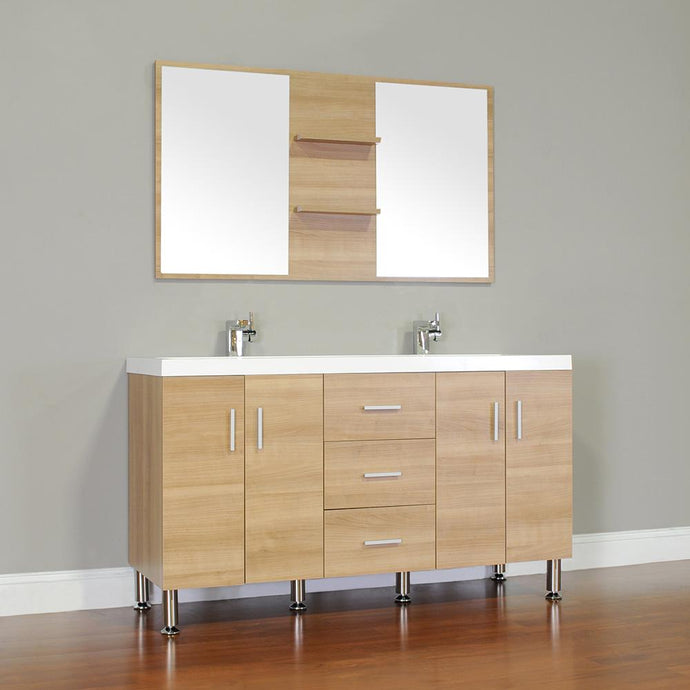 The Modern 56.5 in. W x 19.875 in. D Bath Vanity in Light Oak w/ Acrylic Vanity Top in White w/ White Basin