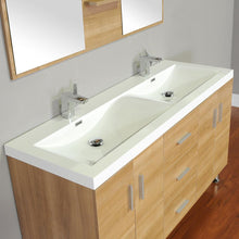 Load image into Gallery viewer, The Modern 56.5 in. W x 19.875 in. D Bath Vanity in Light Oak w/ Acrylic Vanity Top in White w/ White Basin