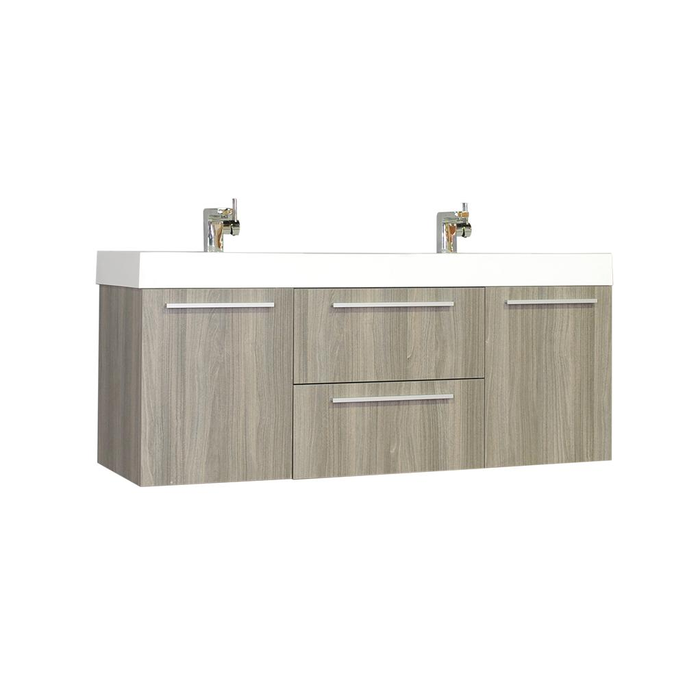 The Modern 54.25 in. W x 18.75 in. D Bath Vanity in Gray with Acrylic Vanity Top in White with White Basin