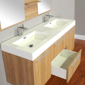 The Modern 54.25 in. W x 18.75 in. D Bath Vanity in Light Oak with Acrylic Vanity Top in White with White Basin