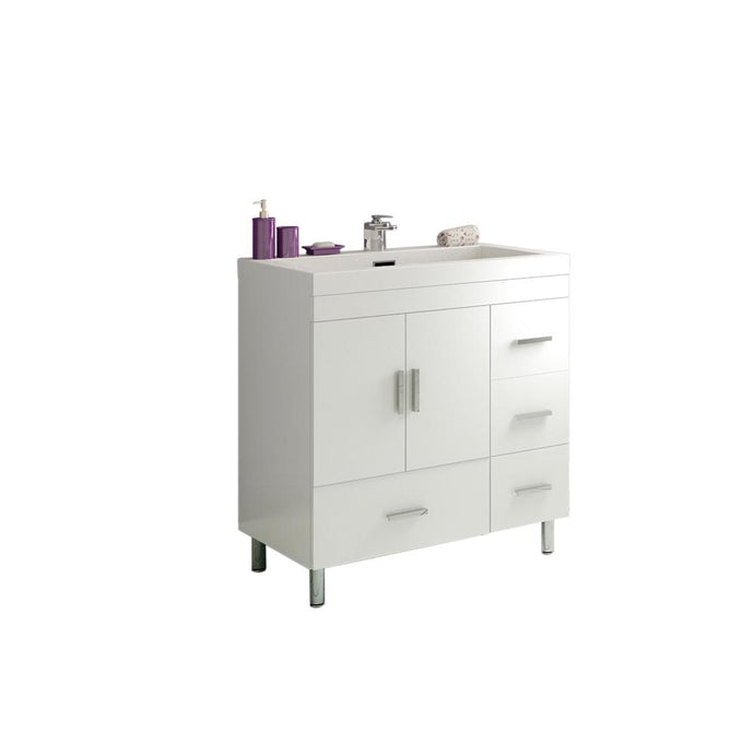 The Modern 29.375 in. W x 19 in. D Bath Vanity in White with Acrylic Vanity Top in White with White Basin