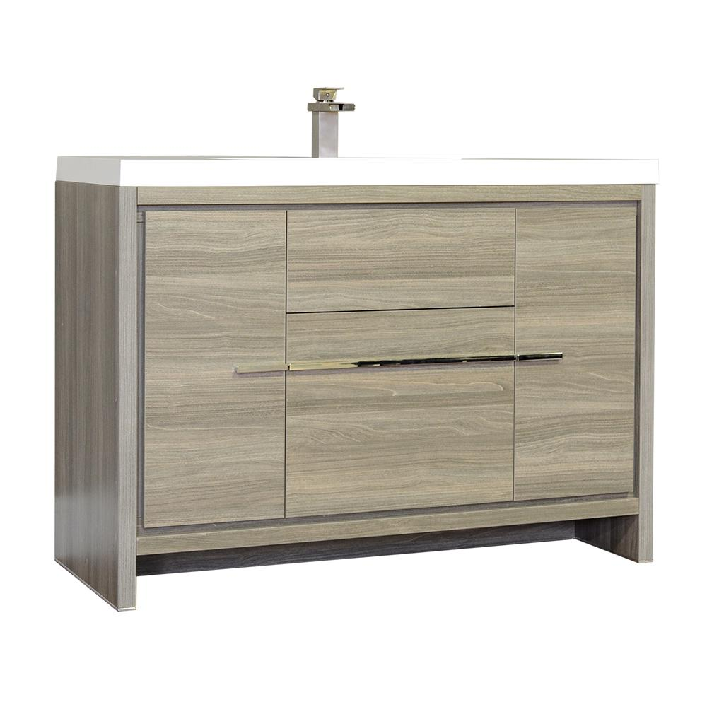 The Modern 47 in. W x 19.375 in. D Bath Vanity in Gray with Acrylic Vanity Top in White with White Basin