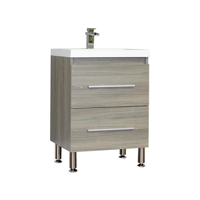 The Modern 23.5 in. W x 18.875 in. D Bath Vanity in Gray with Acrylic Vanity Top in White with White Basin