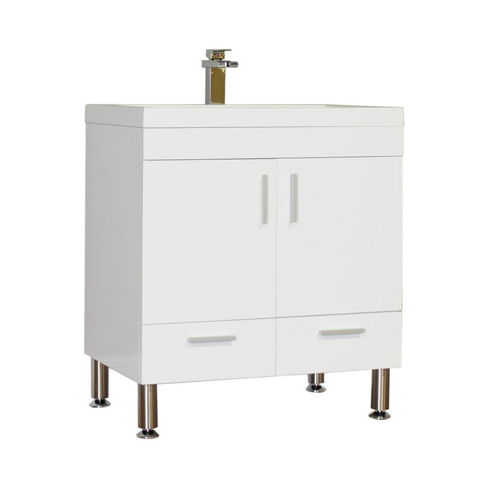 The Modern 29.375 in. W x 18.75 in. D Bath Vanity in White with Acrylic Vanity Top in White with White Basin