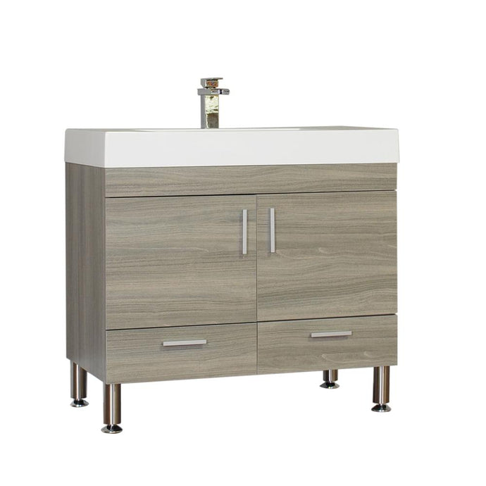 The Modern 35.375 in. W x 18.75 in. D Bath Vanity in Gray with Acrylic Vanity Top in White with White Basin