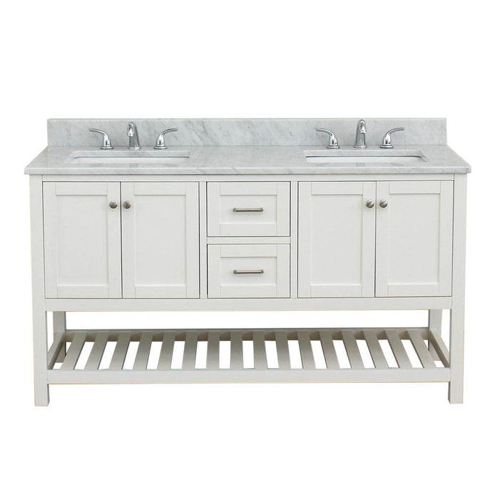 Westchester 61 in. W x 34 in. H Bath Vanity in White with Marble Vanity Top in White with White Basin