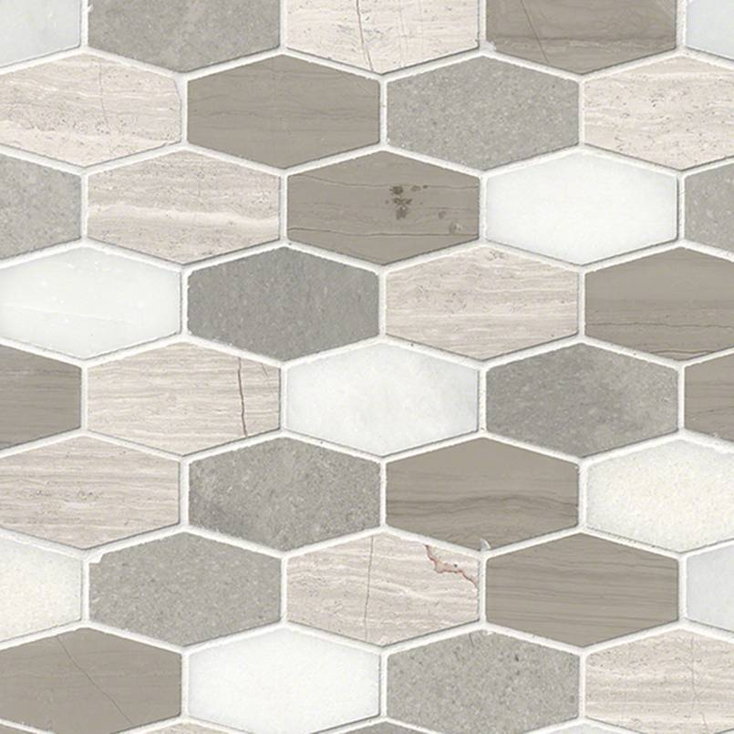 BELLAGIO BLEND ELONGATED HEXAGON HONED 0.38 INCH Backsplash Decorative Wall Tile