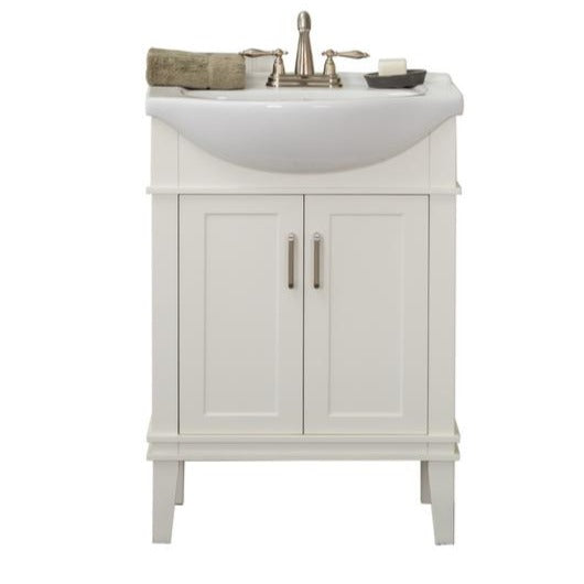 Seattle 24 in. W x 17.5 in. D x 34.75 in. H Vanity in White with Porcelain Vanity Top in White with White Basin