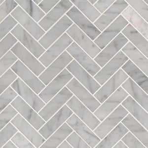 CARRRARA WHITE HERRINGBONE MOSAIC