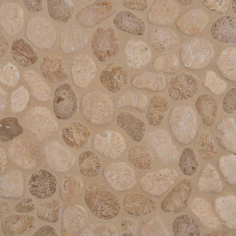 TRAVERTINE BLEND PEBBLES MESH BACKED
