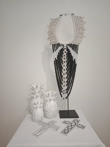 Tribal Necklace on a stand (Black and White)