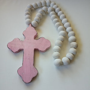 Pink Cross with Beads (Rustic)