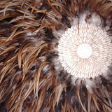 Boho Feather and Shell Juju Hat (Brown/White/Rust))