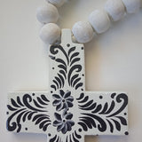 Hand Painted Cross with Beads