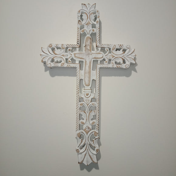 White Carved Rustic Cross