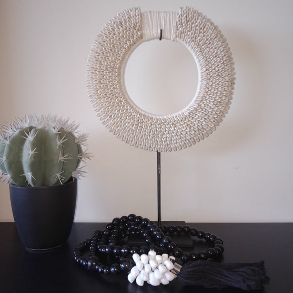 Coastal/Boho/ Hampton Shell Circle on a stand