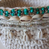 Handmade Natural Basket with Beads and Shells