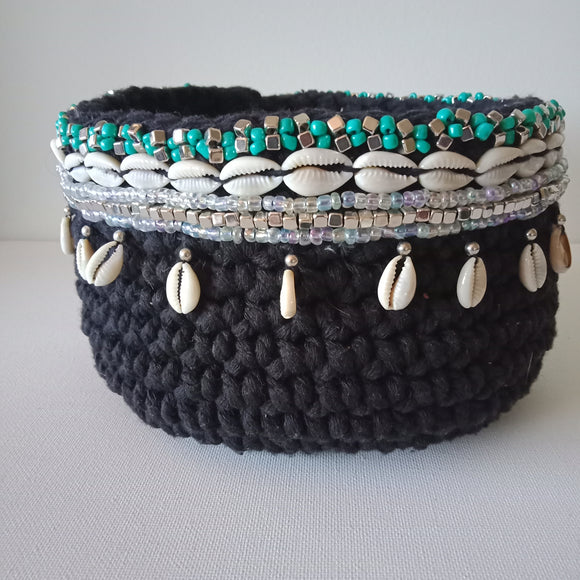 Basket with Shells and Beads