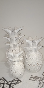 White Carved Pineapples (Set of 3)