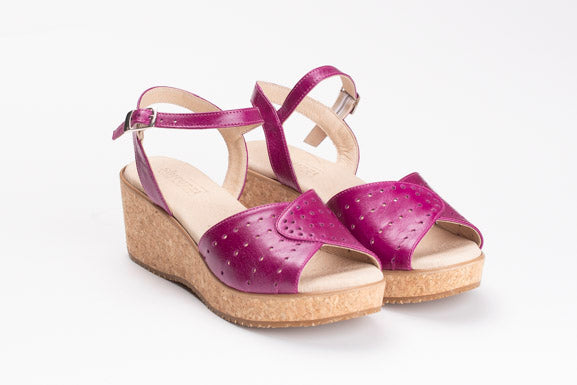 fuschia leather sandal cork sole - shiruzzi.com