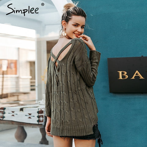 Simplee Autumn cross top Backless knitted sweater women