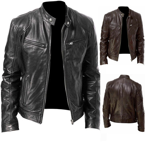 PU Leather Jacket Men