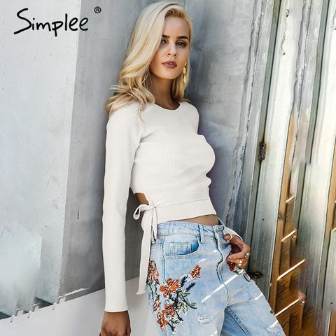 Simplee Casual tie up knitted sweater women