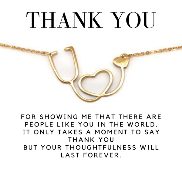 thank you gift necklace card stethescope necklace