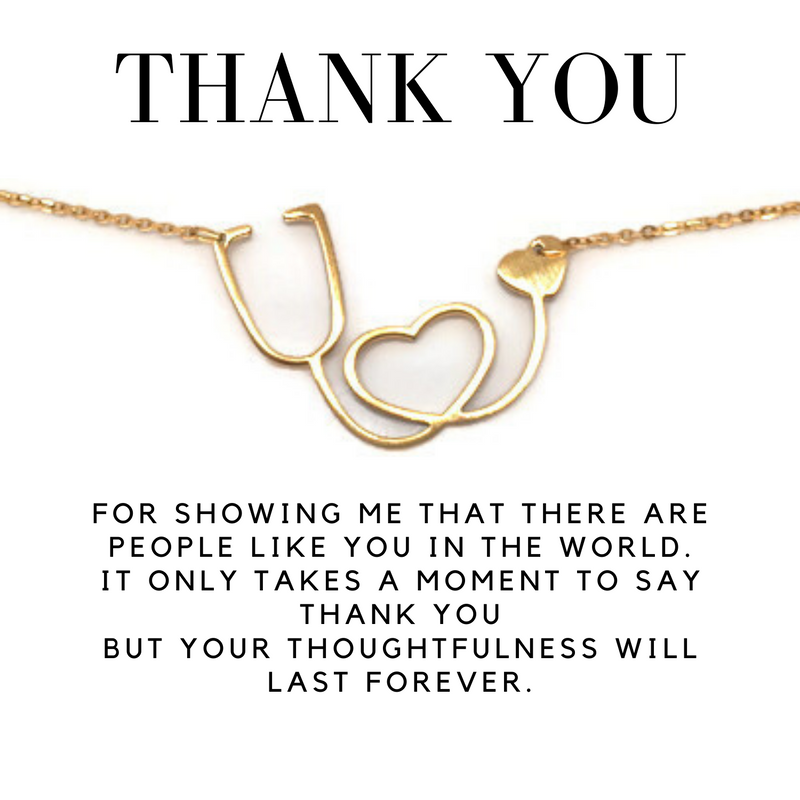 Delicate Charms thank you gift necklace card stethescope necklace